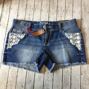 Pants - NWT Adorable Jean Shorts w/ Crocheted Lace Accent